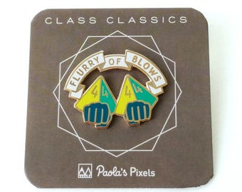 Flurry of Blows Dungeons and Dragons Pin, Monk Dnd Enamel Pin, d8 Pin, Tabletop RPG pin, Dungeon Master Gift, D&D pin, Dnd Dice pin