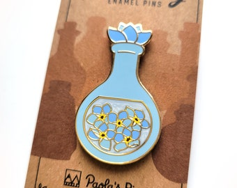 Blue Forget-Me-Not Potion Enamel Pin, Dungeons and Dragons Enamel Pin, DnD Alchemist Pin, Magic pin
