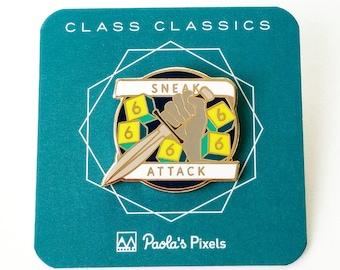 Sneak Attack Dungeons and Dragons Pin, Rogue pin, Dnd Enamel Pin, d20 Pin, Tabletop RPG pin, Dungeon Master Gift, D&D pin, Dnd Dice pin