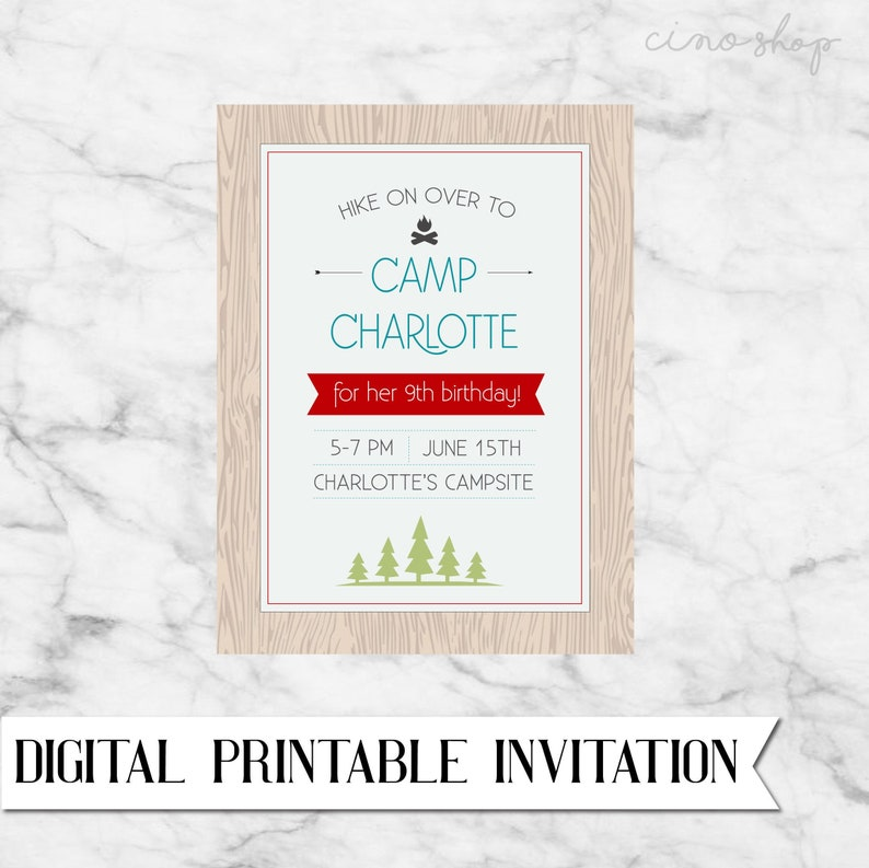 Camping Birthday digital printable invitation image 0