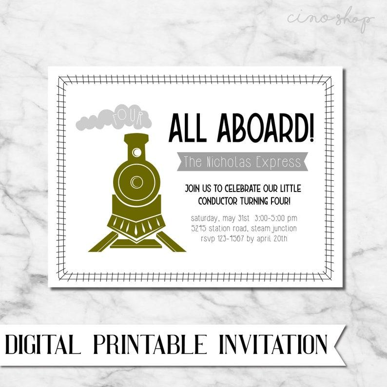 All Aboard Train Digital Printable Birthday Invitation image 0