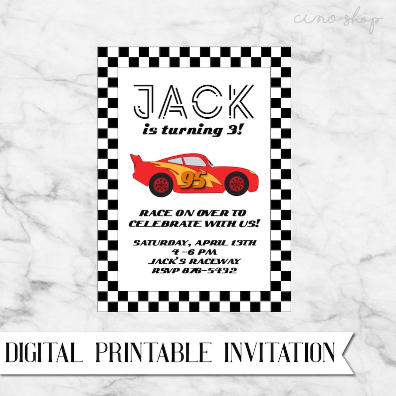 Cars Lightning McQueen Digital Printable Birthday Invitation image 0