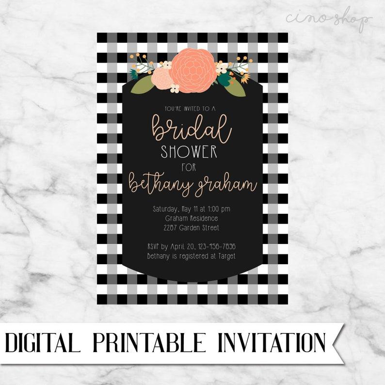 Buffalo Plaid Floral Bridal Shower Digital Printable image 0