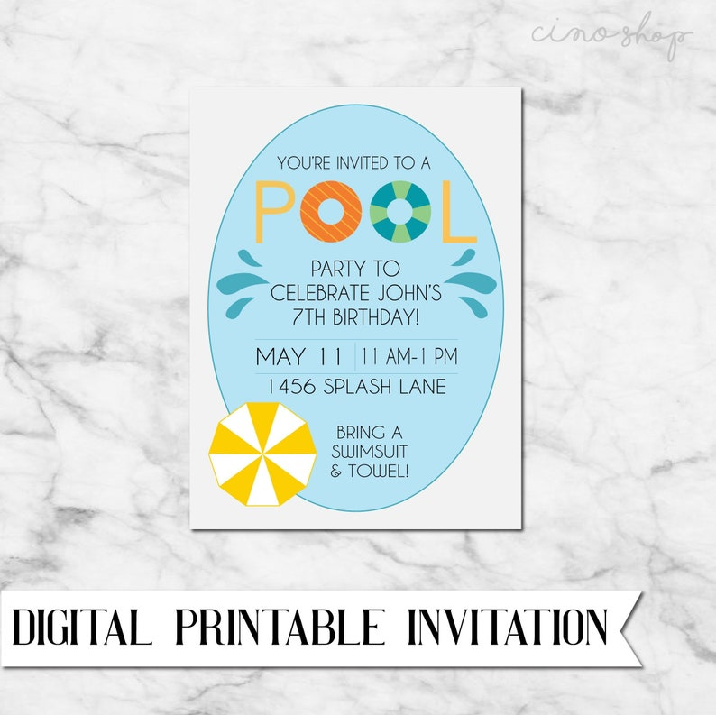 Pool Party Digital Printable Birthday Invitation image 0