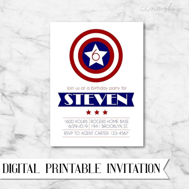 Captain America digital printable birthday invitation image 0