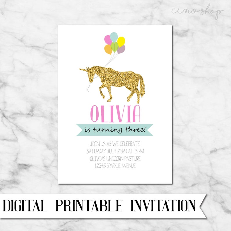Unicorn Rainbow Balloon Digital Printable Birthday Invitation image 0