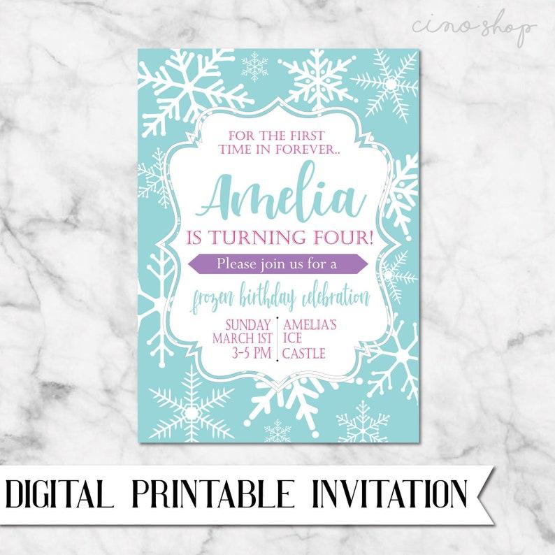 Frozen Ice Princess Digital Printable Birthday Invitation image 0