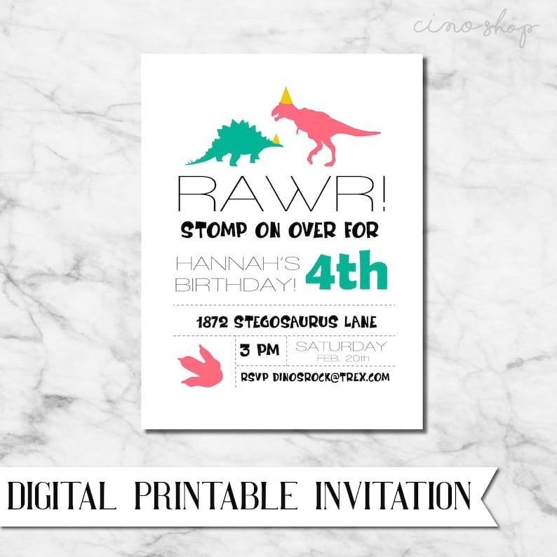 Dinosaur girl or boy Digital Birthday Party Invitation image 0
