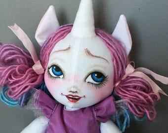 Unicorn Girl Doll Mori Girl Art Doll, Fabric Cloth Rag , pastel lavender pink magical rainbow unicorn horn vintage lace hankie and fabrics