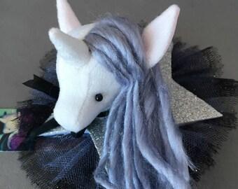 Unicorn Barrette, Magical Glitter Faux Vegan Taxidermy Fascinator, soft sculpture, plush animal hair accessory, brooch, pin silver burlesque