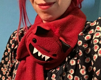Devil Monster Animal Scarf, X-Long Red Monster Devil for kids or adults, stuffed animal scarf MADE TO ORDER