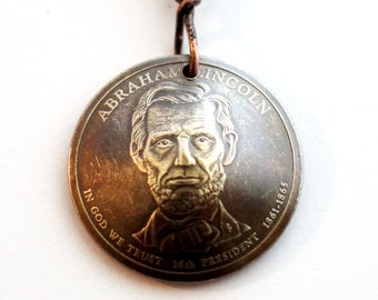Lincolon Washington Hayes Garfield Adams  Keychain Domed Coin Keychain U.S. Coin 1 Dollar Coin Keyring, Lincoln Key Ring by Hendywood KCE13