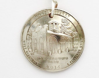 Harper's Ferry, Fort McHenry, Great Basin, Mount Rushmore, Chickasaw, Denali Coin Keychain Quarter Dollar, Key Ring, by Hendywood