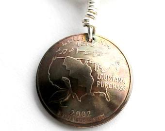 Key Ring, Louisiana, U.S. Quarter Dollar Coin, Keychain, 2002, Key Fob by Hendywood