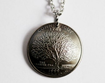 Domed Coin Necklace, Connecticut State Quarter Pendant, U.S. Quarter Dollar, 1999, Charter Oak Tree Jewelry by Hendywood