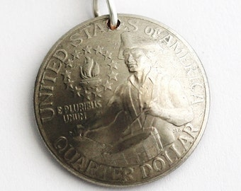 U.S. Bicentennial Quarter Domed Coin Keychain, Key Ring, Commemorative, American Collectible, Vintage 1976 by Hendywood KCE22