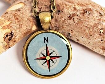 Blue Compass Rose Map Necklace Pendant Resin Jewelry Bronze Bezel Handmade by Hendywood (W)