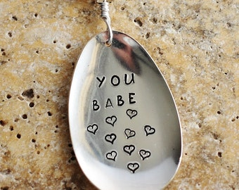 Hand Stamped Spoon Key Ring, YOU BABE, Recycled Vintage Silverware Keychain,  Flattened Handstamped Spoon by Hendywood
