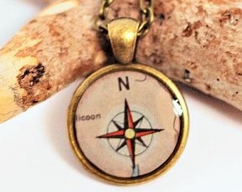 Compass Rose Map Necklace Pendant Resin Jewelry Bronze Bezel Handmade by Hendywood (W)