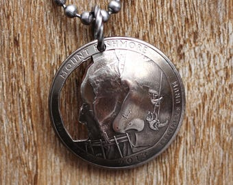 Mount Rushmore, Cut Coin, U.S. Quarter Coin Necklace, Domed Coin Pendant, South Dakota, America the Beautiful, 2013 Jewelry Hendywood