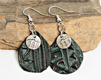 Leather Earrings Dark Teal Turquoise Green Textured Embossed Leather Tree and Mountain Landscape Charm by Hendywood