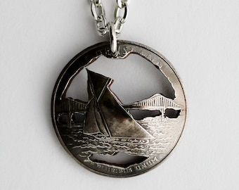 Rhode Island State Quarter Pendant, 2001, Domed Cut Coin Necklace, Sailboat, U.S. Quarter Dollar, Cut Coin Jewelry by Hendywood