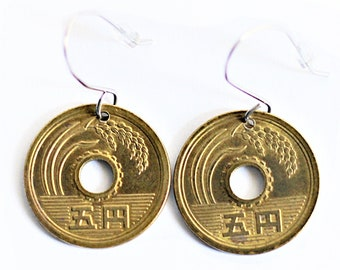 Japanese Coin Earrings 5 Yen Lucky Coin Drop Dangle Handmade Stainless Steel Wires by Hendywood (W)