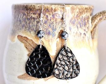 Black Leather Earrings Snowflake Obsidian Stone Bead Snakeskin Textured Embossed Leather by Hendywood