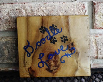Labradoodle Goldendoodle Small Wood Sign Doodle Love Square Pet Dog Sign Handpainted Wooden Reclaimed Wood Fence Wood Painted by Hendywood