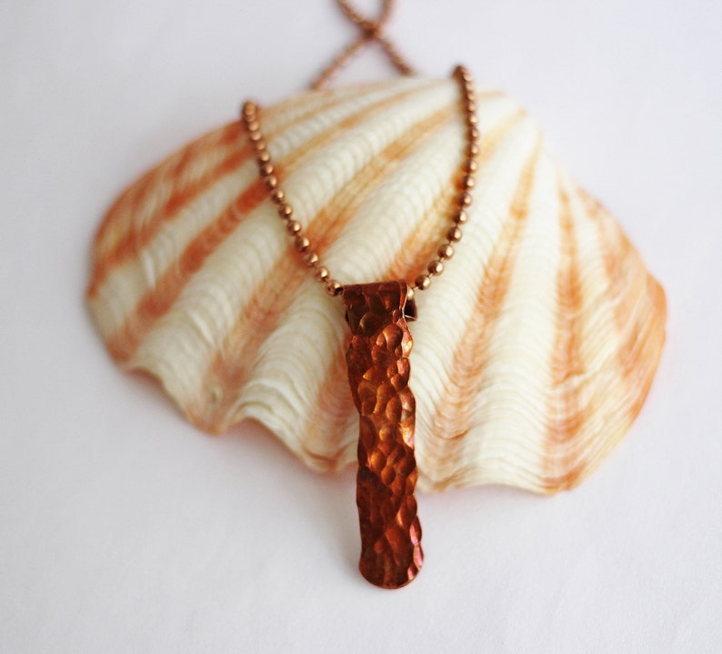 Hammered Copper Bar Necklace Recycled Copper Wire Handmade image 0