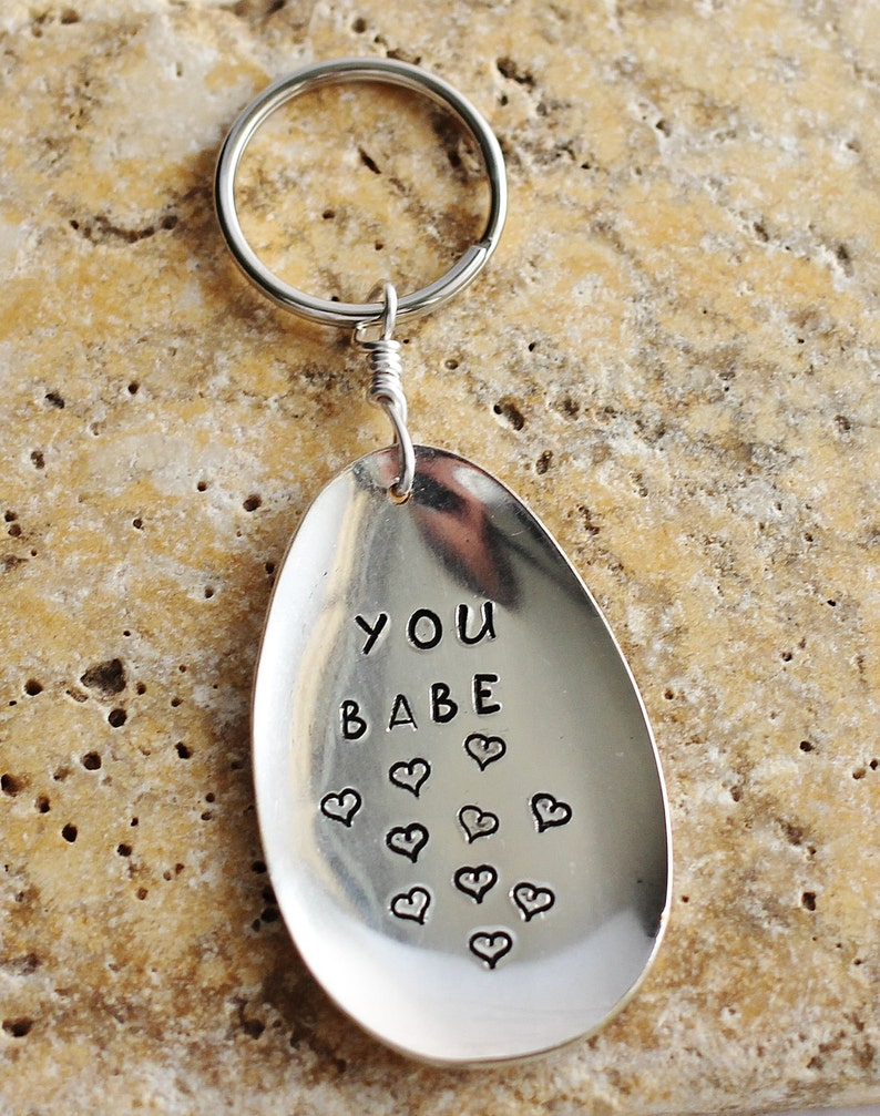 Hand Stamped Spoon Key Ring YOU BABE Recycled Vintage image 0