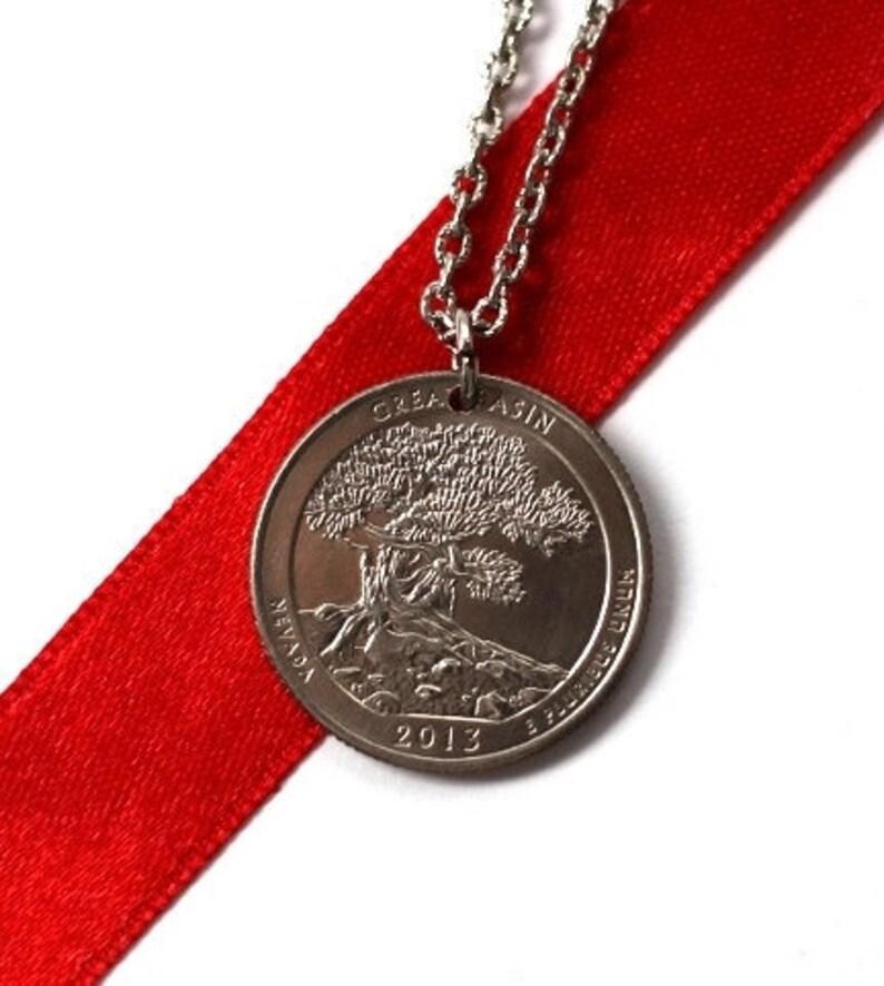 Quarter Pendant U.S. Quarter Dollar Coin Necklace Nevada image 0