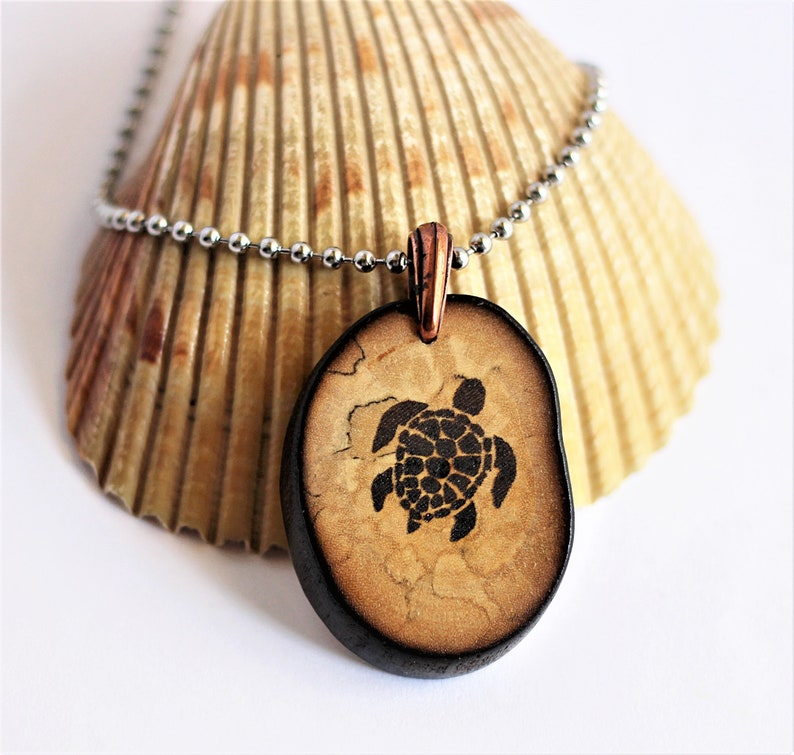 Sea Turtle Necklace Reclaimed Wood Necklace Wooden Branch Etsy