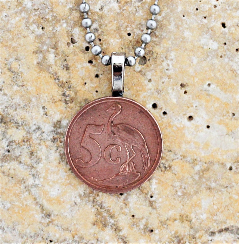 Upcycled Coin Necklace Authentic South Africa Afrika 5 Cents image 0