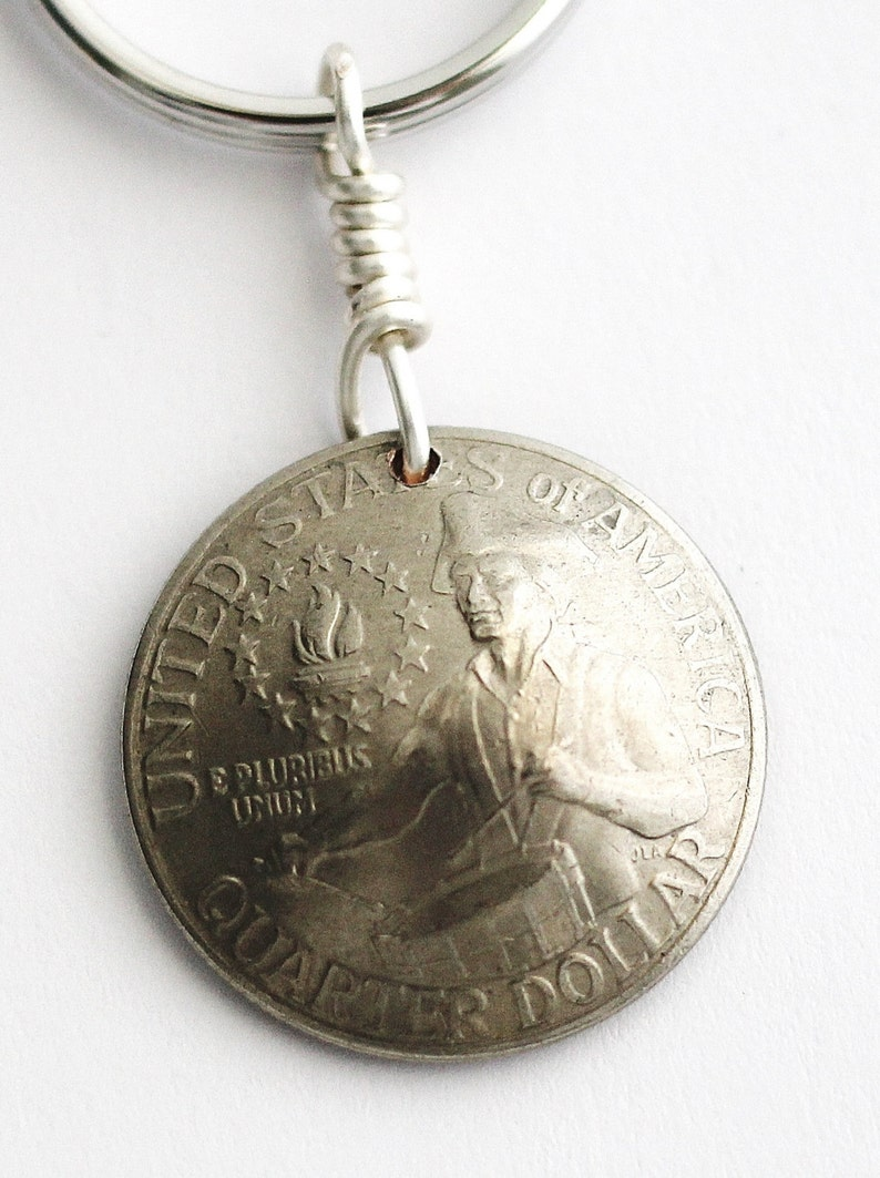 U.S. Bicentennial Quarter Domed Coin Keychain Key Ring image 0