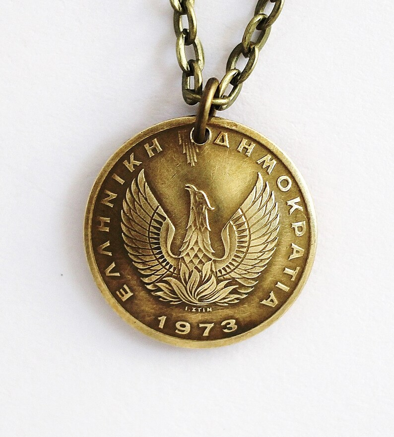 Phoenix Coin Necklace Greek Owl Coin Phoenix Pendant 1 Drachma image 0