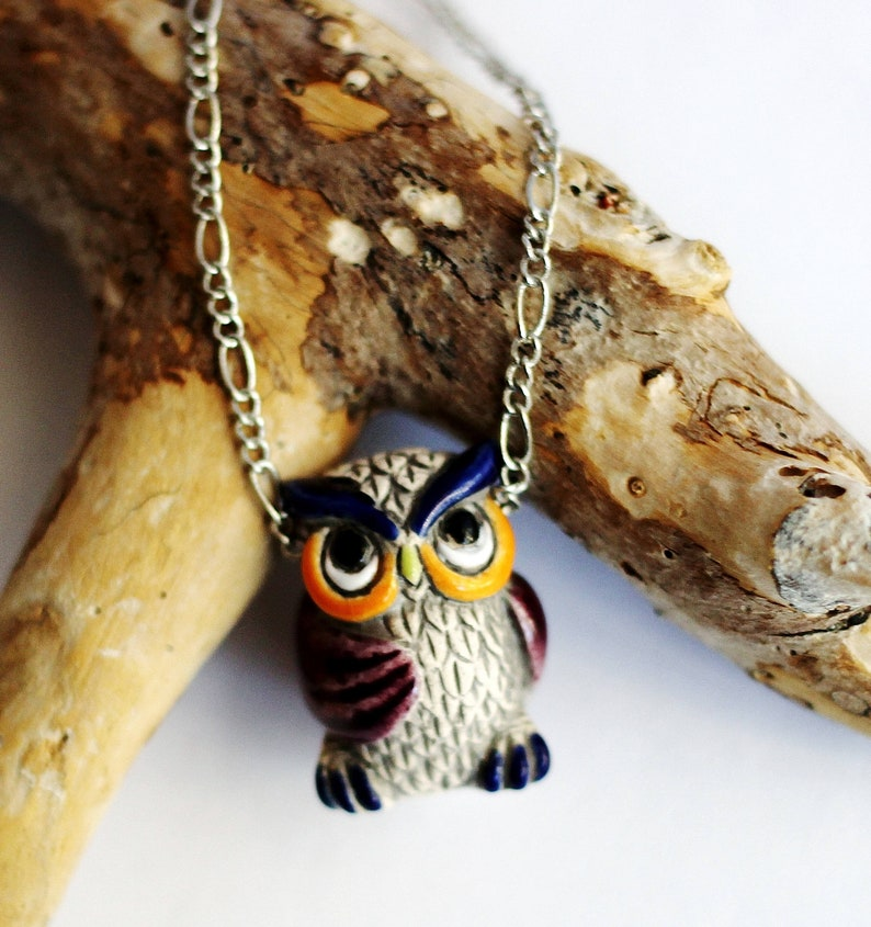 Owl Necklace Owl Jewelry Cute Owl Charm Colorful Owl image 0