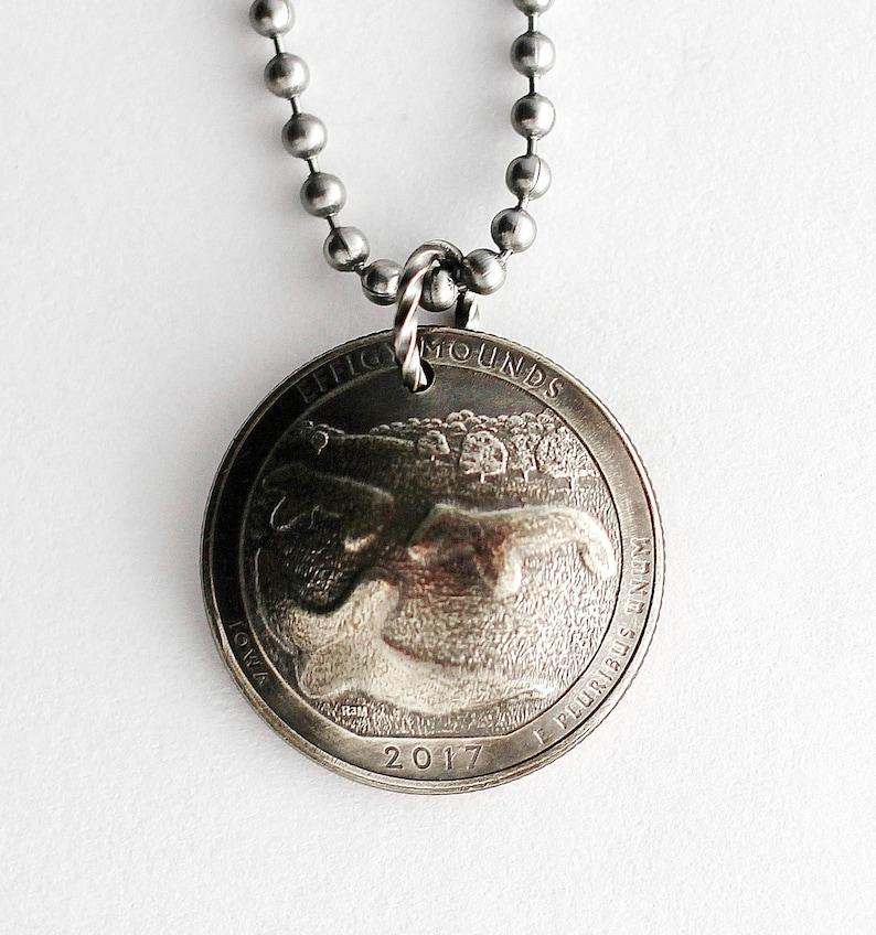 Efigy Mounds Domed Coin Necklace U.S. Commemorative Quarter image 0