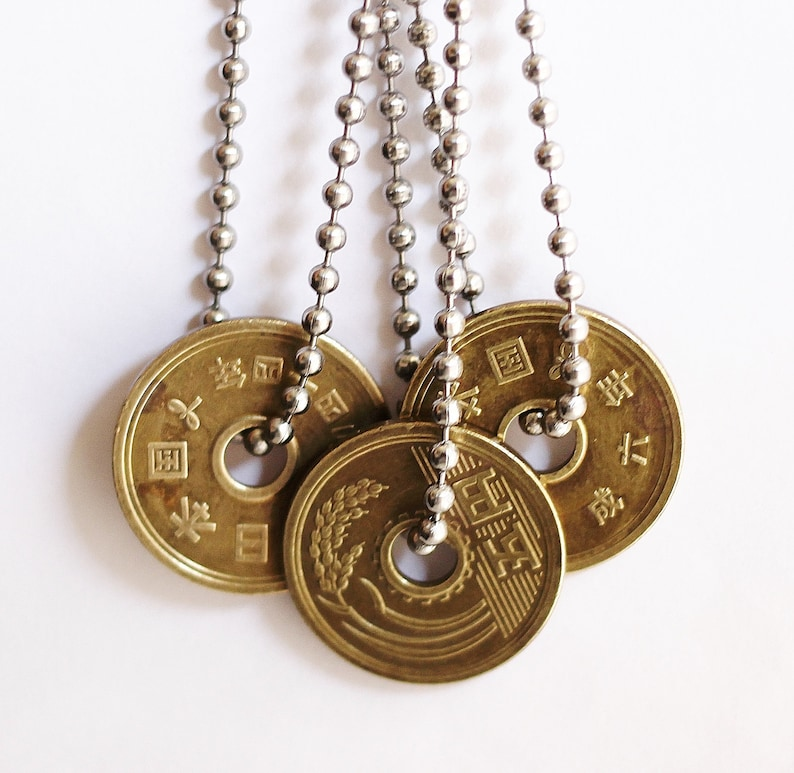 Japanese 5 Yen Lucky Coin Necklace Stainless Steel Chain image 0