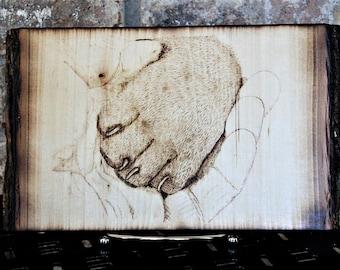 Dog Paw in Hand Wood Burned Original Pyrograpy Art Animal Puppy Portrait Wooodburn Hendywood (W)