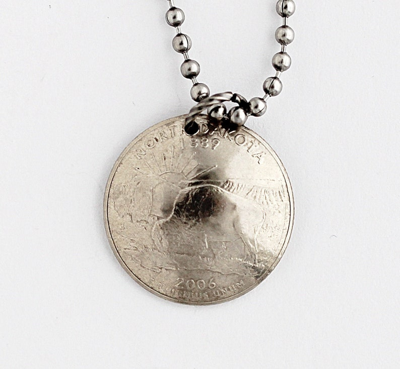 Domed Coin Necklace North Dakota U.S. State Quarter Dollar image 0