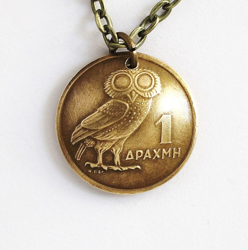 Greek Owl Coin Necklace Phoenix Pendant 1 Drachma Domed 1973 image 0
