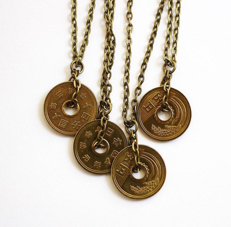 Lucky Coin Japanese Yen Coin Necklace Pendant Undrilled 5 Yen image 0