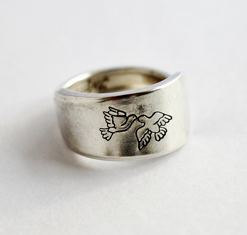 Love bird Spoon Ring Peace Dove Necklace size 7.25 image 0