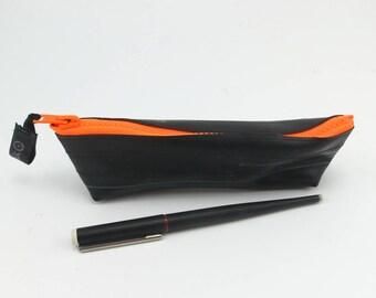 Pencil case rubber recycled bike inner tube neon orange zipper