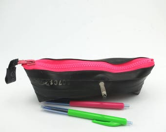 Pump it up. Pencil case rubber recycled bike inner tube neon pink zipper