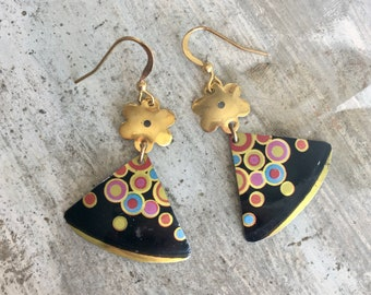 Festival color bombs dangle earrings from recycled tin can.