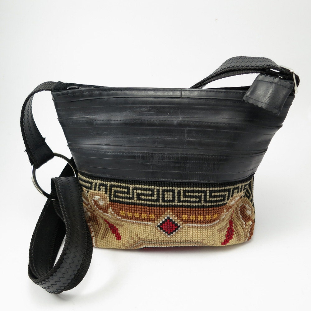 Vintage Embroidery and Recycled Inner Tube Bag