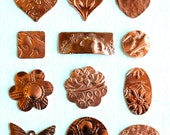Qty 4 Small Solid Copper Blanks with Asst Texture Option - for Patina or enameling - Free Shipping USA