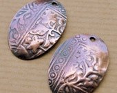 Athena Oval Copper or Brass Textured Charms - 2 pieces - Free Shipping USA